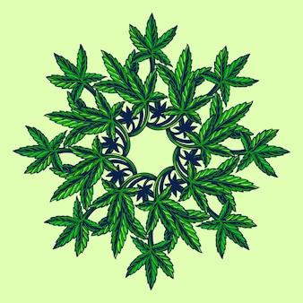 Mandala de marihuana de hoja de cannabis