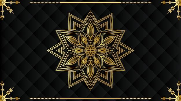 Mandala moderna de lujo con patrón de arabescos dorados estilo islámico real árabe