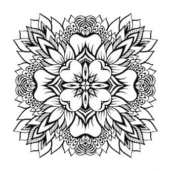Mandala monocromática tropical con una flor de loto en el centro.