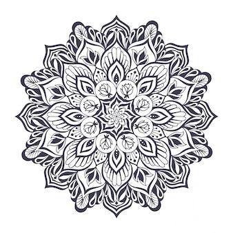 Mandala monocromática para yoga y pilates.