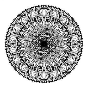 Mandala negra redonda en el fondo blanco aislado blanco.