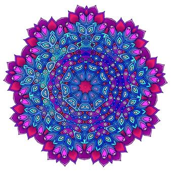 Mandala ornamental detallada en morado y azul. adornos etnicos.