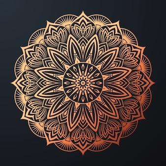 Mandala ornamental con estilo oriental islámico floral arabesco de color dorado