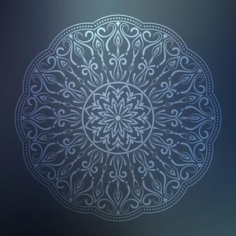 Mandala ornamental con estilo oriental islámico floral arabesco de color plateado