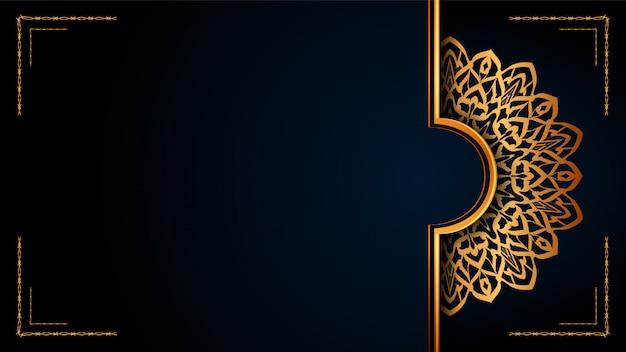 Mandala ornamental de lujo fondo islámico con patrones árabes dorados.