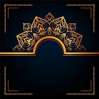 Mandala ornamental de lujo fondo islámico con patrones de arabescos dorados.