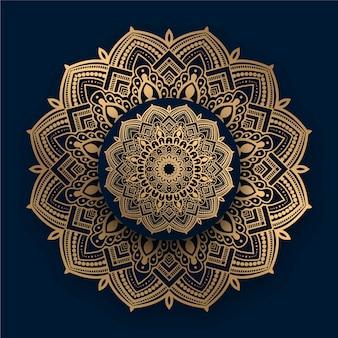 Mandala ornamental de lujo con patrón dorado islámico