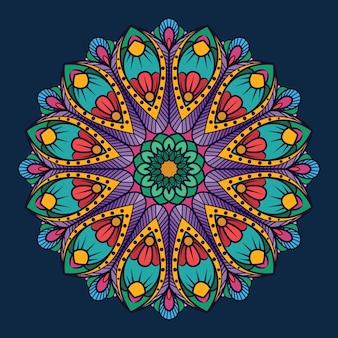 Mandala ornamental sobre fondo azul oscuro