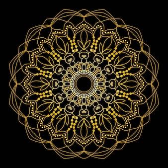 Mandala de oro lindo. flor ornamental redonda del doodle aislada en el fondo blanco. adorno decorativo geométrico en estilo étnico oriental.
