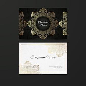 Mandala de oro para plantilla de tarjeta de visita