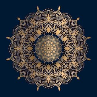 Mandala de patrón islámico dorado