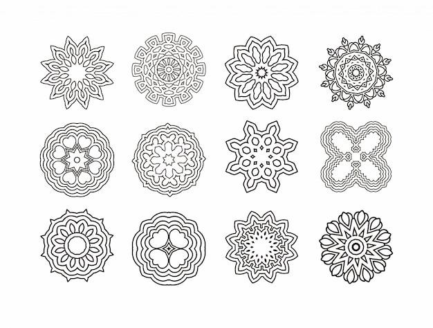 Mandala redonda de adorno. elementos decorativos vintage