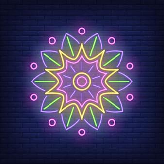 Mandala redonda adorno letrero de neón