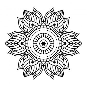 Mandala redonda sobre fondo blanco