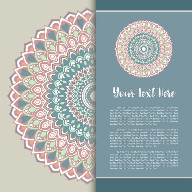 Mandala template card, greeting invitation card set vector.