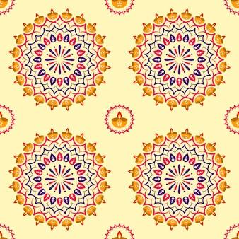 Mandala transparente o rangoli decorado con lámparas de aceite (diya) sobre fondo amarillo.