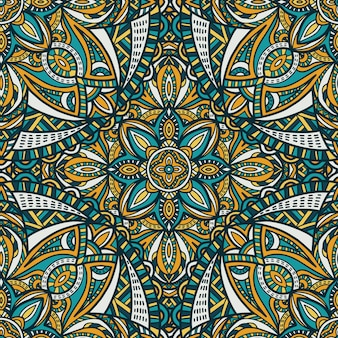 Mandala vector de fondo sin fisuras patrón ornamento tribal.