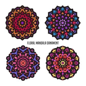 Mandala vintage con hermoso color y adornos florales circulares.