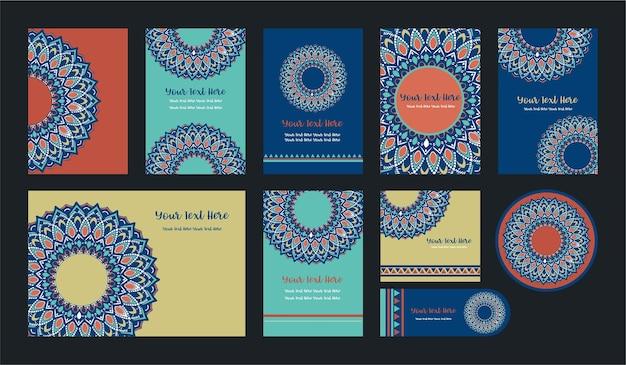 Mandala vintage template card, vector set.