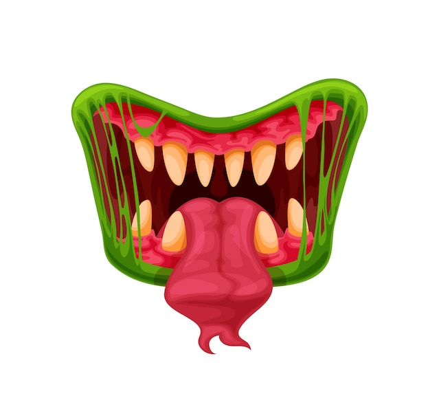 Mandíbulas de monstruo verde. boca, dientes y lengua de dibujos animados criatura espeluznante de halloween o bestia peligrosa. fauces de vector con colmillos afilados en limo verde o saliva y lengua larga bifurcada