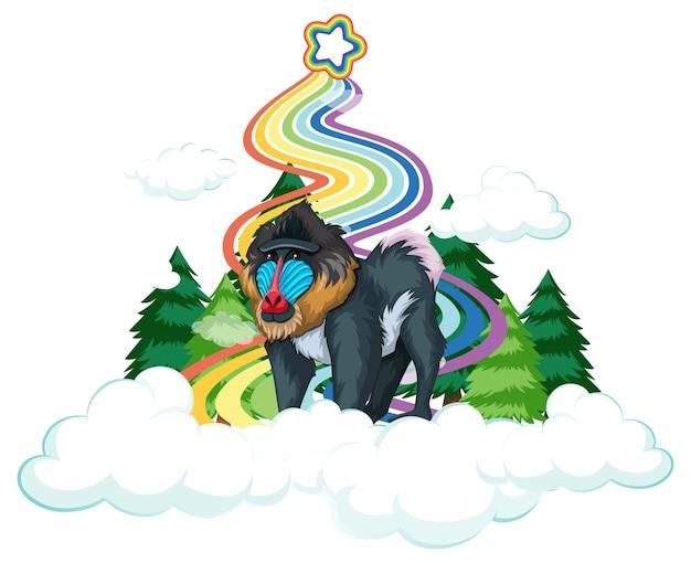 Mandril en la nube con arco iris sobre fondo blanco.