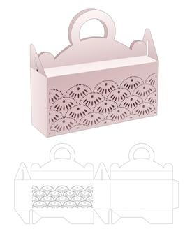 Maneja la caja de embalaje con plantilla troquelada de onda japonesa estampada