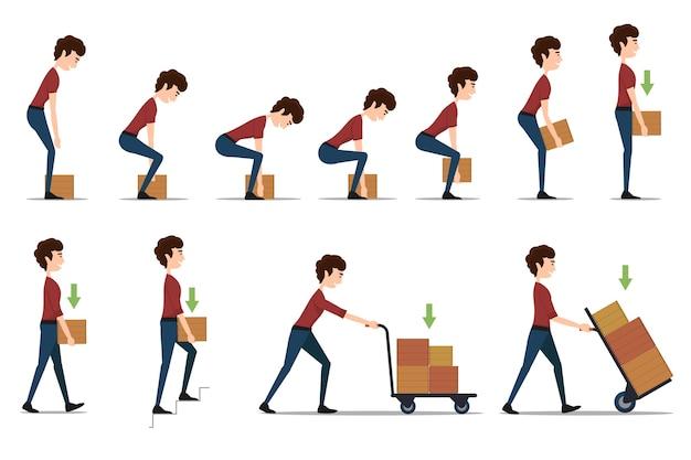 Manejo y transporte seguro de artículos pesados. caja y hombre, carga y trabajador, cartón de entrega, distribución y peso,