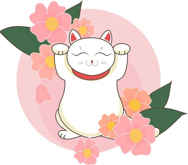 Maneki neko / neco con flores y flores de cerezo (sacura) de japón, un gato con una pata levantada símbolo de suerte japonés, ilustración vectorial