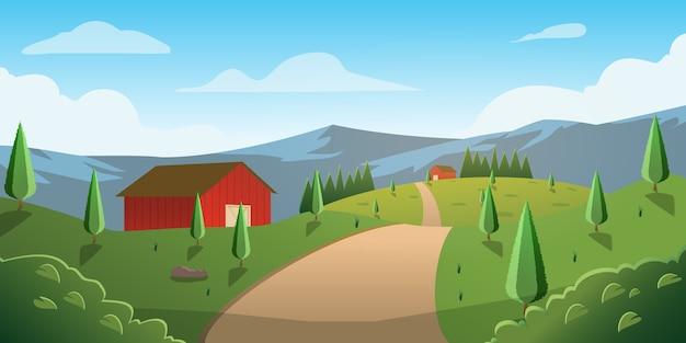 Manera de la ilustración a casa en el fondo de la montaña de la colina