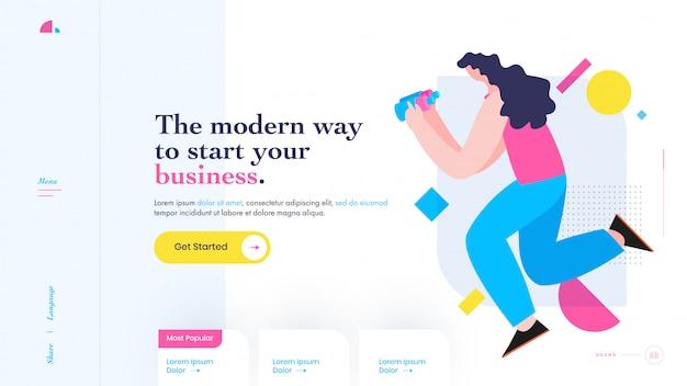 La manera moderna de comenzar su negocio concepto de diseño de página de aterrizaje basado