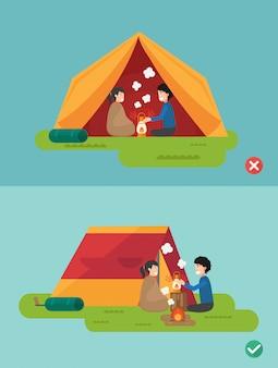 Maneras correctas e incorrectas de preparar un campamento, ilustración, vector