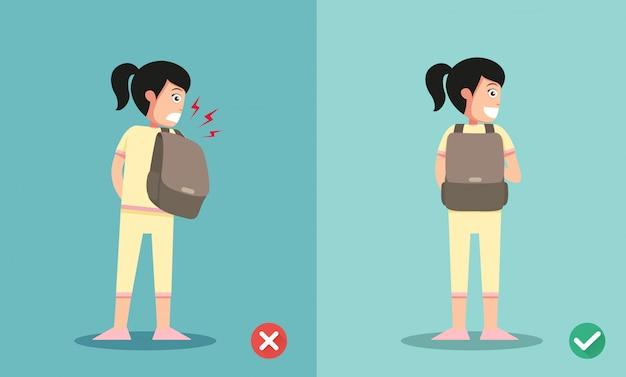 Maneras equivocadas y correctas para la mochila de pie