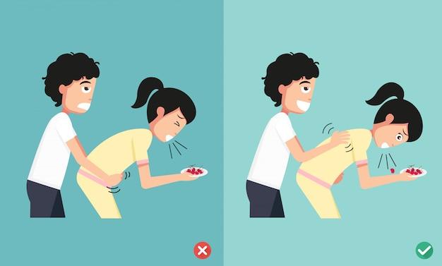 Maneras equivocadas y correctas de primeros auxilios, hombre dando asfixia a mujer, ilustración