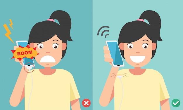 Maneras incorrectas y correctas. no llame por teléfono en la ilustración de carga de la batería.