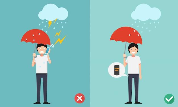 Maneras incorrectas y correctas. no llame por teléfono mientras llueve la ilustración.