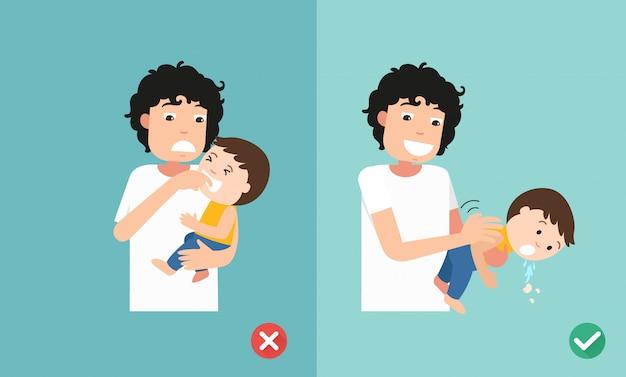 Maneras incorrectas y correctas de primeros auxilios, ilustración, vector