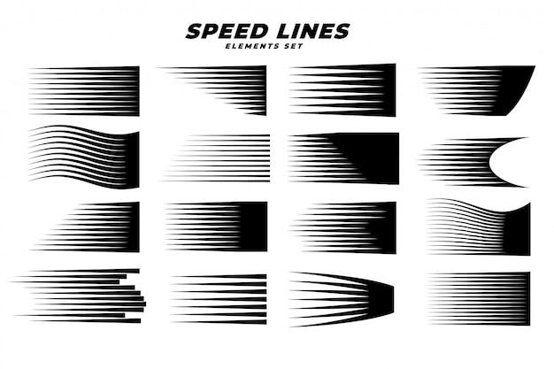 Manga comic movimiento velocidad líneas conjunto