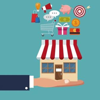 Manga ejecutivo mano sosteniendo una tienda con artículos