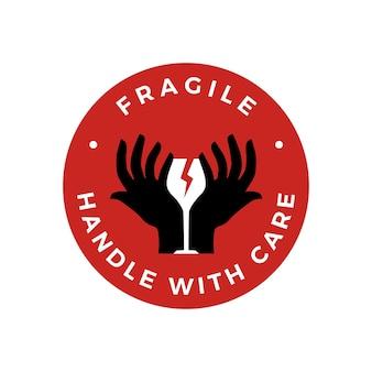 Mango frágil con cuidado ilustración de icono de logotipo de etiqueta de vidrio de mano