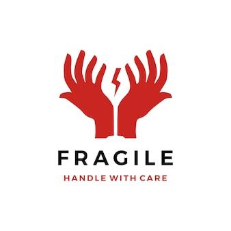 Mango frágil con logotipo de vidrio de mano cuidado