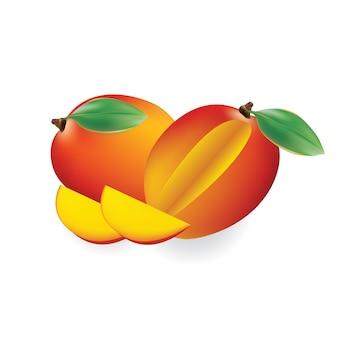 Mango de fruta para jugo fresco, yogurt. 3d realista amarillo