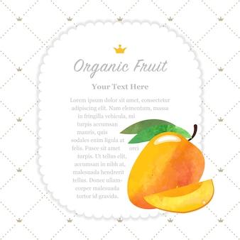 Mango de marco de nota de fruta orgánica colorida textura acuarela naturaleza