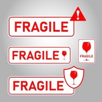 Mango de paquete frágil con logística de cuidado y etiquetas de envío de entrega