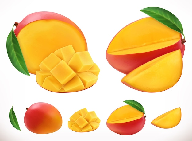 Mango. vector realista 3d de fruta fresca
