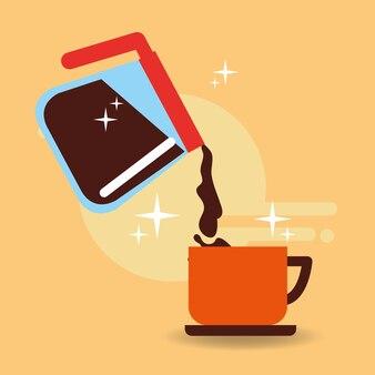 Mango de vidrio de olla vertiendo café en la taza