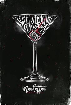 Manhattan cóctel letras angostura, vermú dulce, whisky, cereza en estilo gráfico vintage dibujo con tiza y color sobre fondo de pizarra