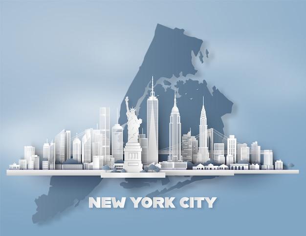 Manhattan, nueva york con rascacielos urbanos,