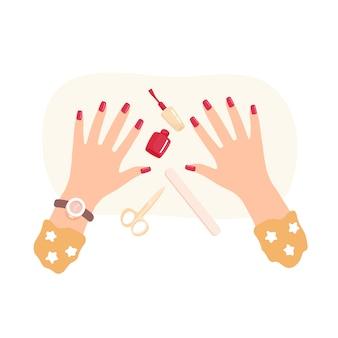 Manicura. bien arregladas hermosas manos femeninas.