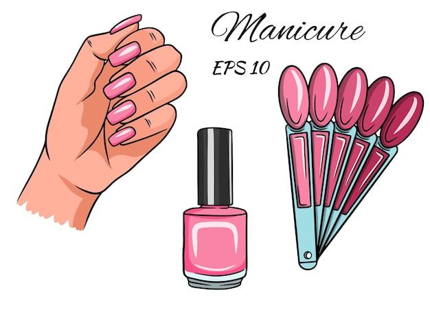 Manicura. mano con uñas pintadas.