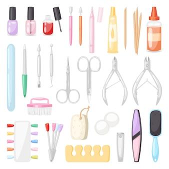 Manicura pedicura y accesorios o herramientas de manicura lima de uñas o tijeras de manicurista en barra de uñas ilustración conjunto de esmalte de uñas para manos cuidadas sobre fondo blanco